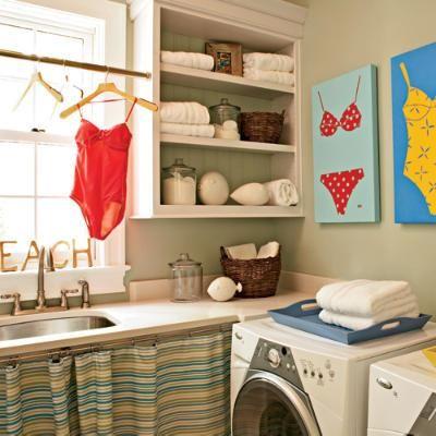 Beach chic laundry room via @Cambria