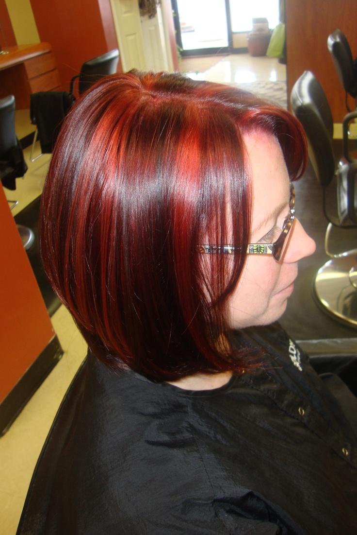 Auburn Highlights On Dark Chocolate Brown Hair 300x199 Bright Auburn
