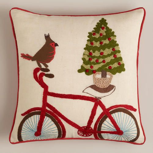 One of my favorite discoveries at WorldMarket.com: Holiday Bicycle with Bird Throw Pillow
