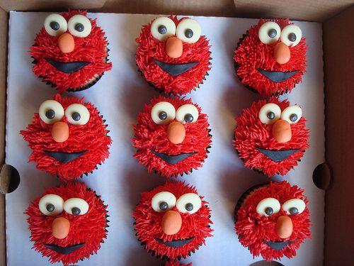Elmo cupcakes by Angelina Cupcake, via Flickr