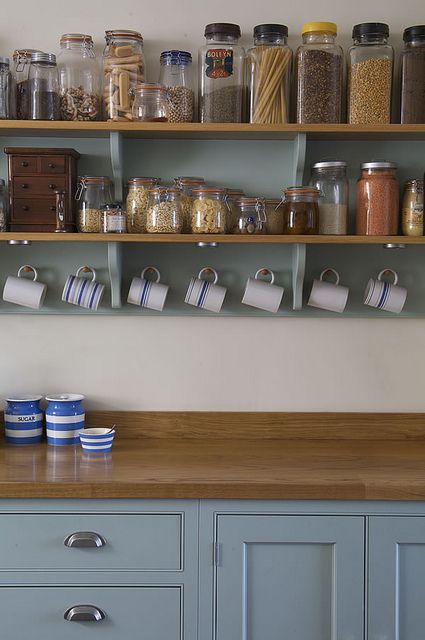 open shelving Farrow and Ball Green Blue kitchen