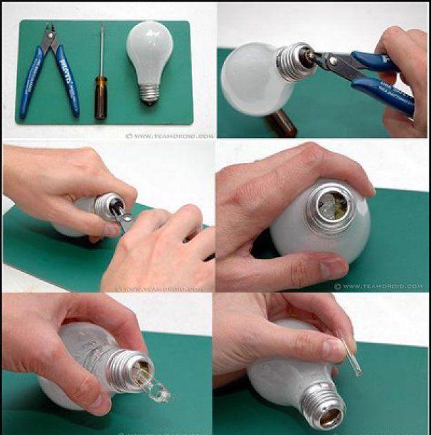 Como hacer para reutilizar bombillos bombillos lindos - Bombillas de decoracion ...