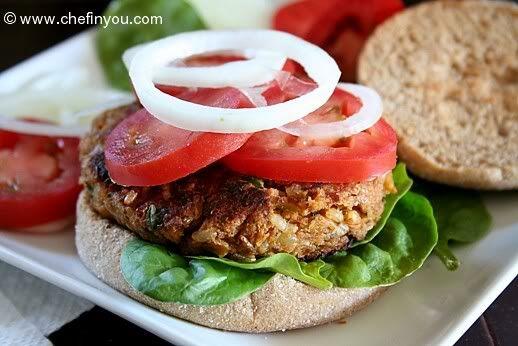 ... Burger Recipe - Zucchini, Mushroom, TVP, Chickpeas & Brown Rice Burger