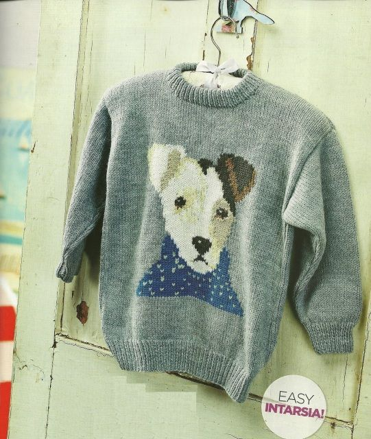 Knitting Pattern For Jack Russell : Junior the jack russell- intarsia sweater knitting pattern