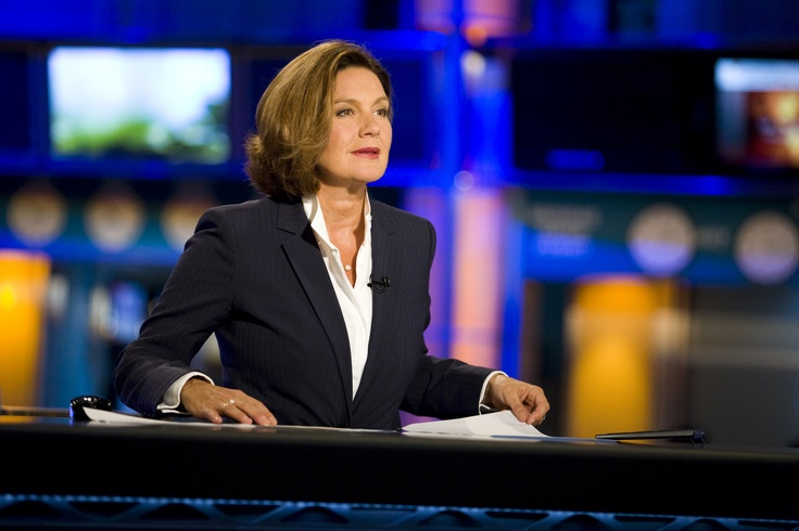 News Anchor Behind Desk View Image