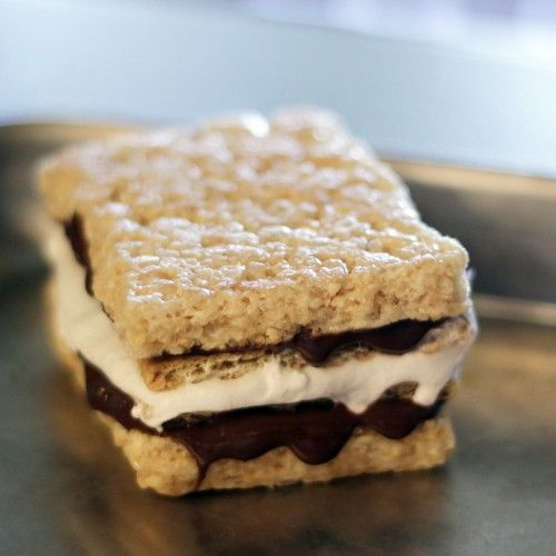 smores made with rice krispy bars!