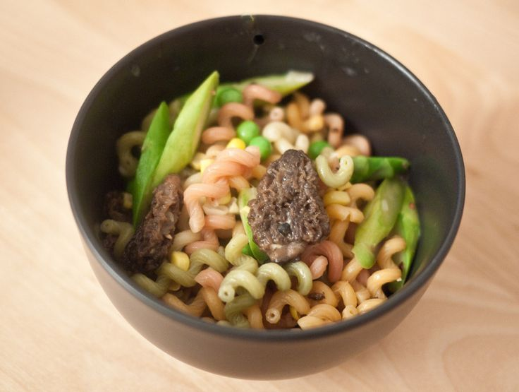Fusilli with Morel Mushrooms, Asparagus, English Peas, and Corn