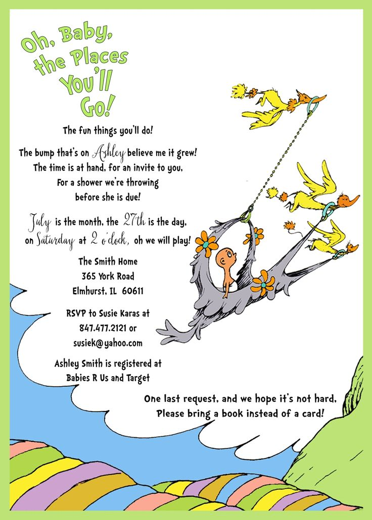 Dr Seuss Baby Shower Invitation Oh Baby The Places You