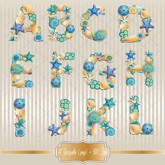 Sea Shell Font Alphabet Clipart Set - clip art set of Sea Life Alphab ...