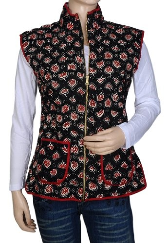 Indian Handmade Design Printed Reversible Quilted Womens Short Jacket