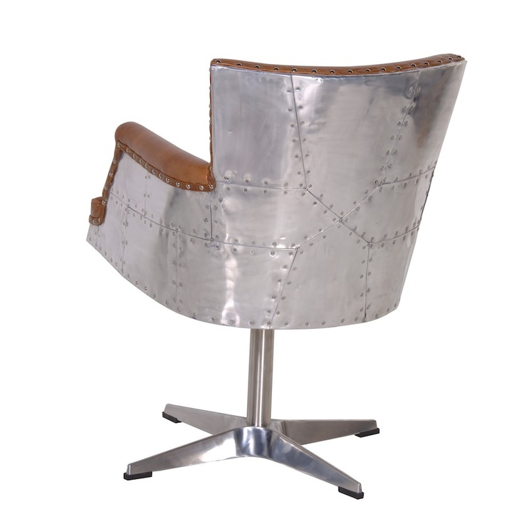 Aviator Tan Brown Leather fice Chair