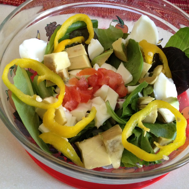 Mixed green salad! Avocado, red onion, banana peppers, boiled eggs ...