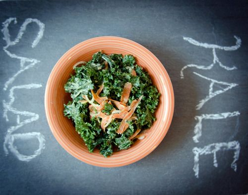Kale Salad with Creamy Tahini Dressing | Yum | Pinterest