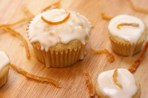 Glazed Meyer Lemon Cupcakes with Candied Lemon Peel « Cate's World ...