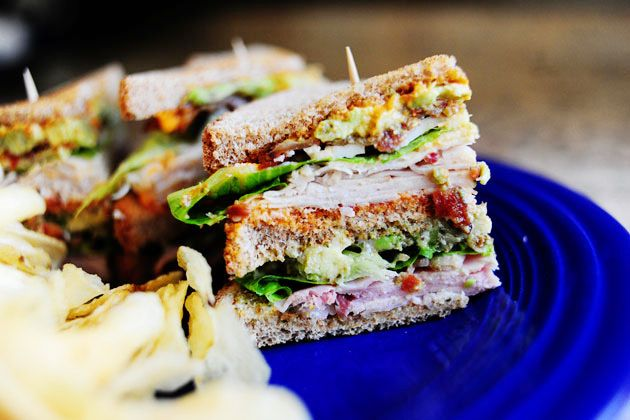 mouth-watering club sandwich with yummy pesto mayo and sundried tomato ...
