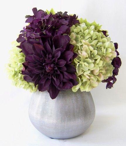 purple dahlias and green hydrangeas