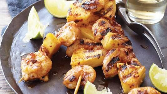 Grilled Spicy Shrimp and Pineapple Skewers | Recipe
