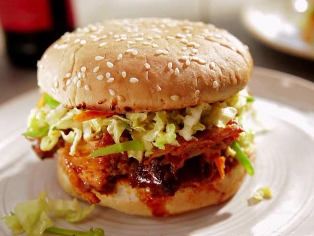 Korean Pulled Pork Sandwich with Asian Slaw. Get more BBQ recipes here ...