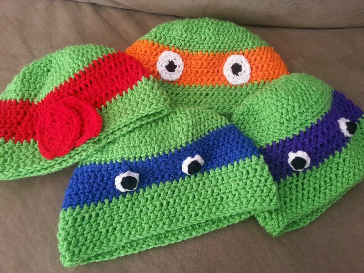 Crochet Ninja Turtle : Crochet- ninja turtles hats Design Pinterest