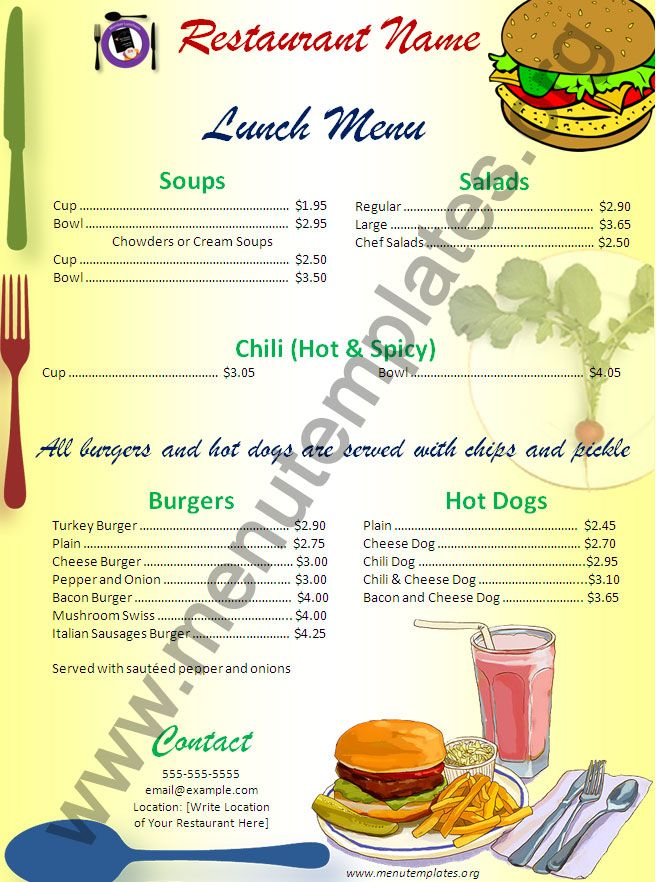 diner restaurant menu templates