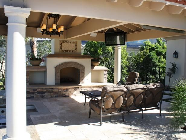 Fireplace and tv outdoor room patio ideas pinterest for Outdoor rooms with fireplaces