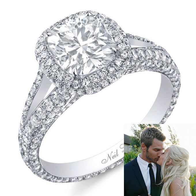 Neil Lane Platinum Engagement Ring With A Cushion Cut Center Stone