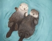 etsy otters holding hands