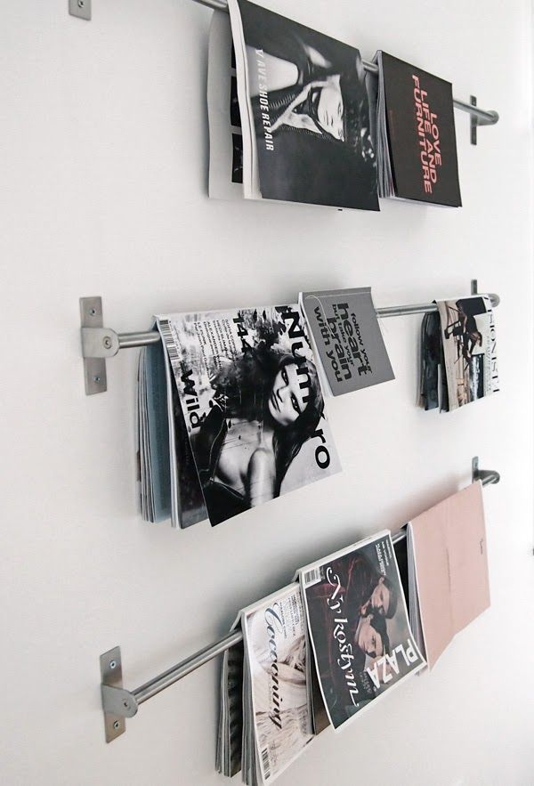 #DIY Rods in the bathroom for magazine storage!