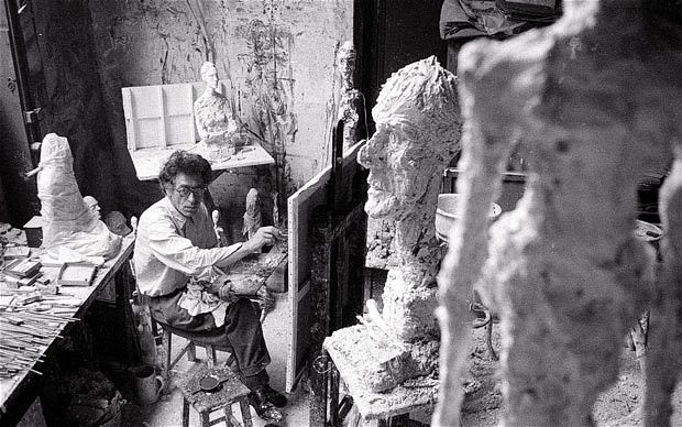 "Alberto GIACOMETTI ( 1901 Borgonovo, Stampa -1966) was a Swiss sculptor, painter, draughtsman, and printmaker.....""In every work of art the subject is primordial, whether the artist knows it or not. The measure of the formal qualities is only a sign of the measure of the artist's obsession with his subject; the form is always in proportion to the obsession."""