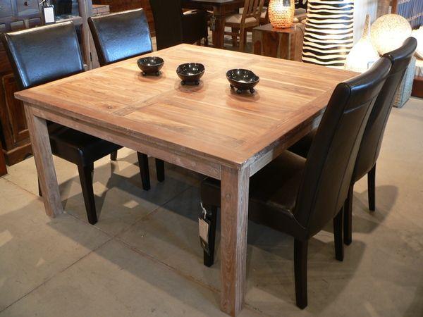 Table carr e en teck recycl meubles pinterest - Table teck carree ...