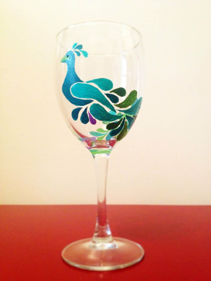 Peacock Decorative Painted Wine Glasses Set Of 4