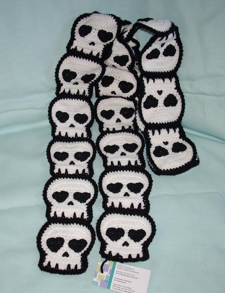 Knitting Pattern Skull Scarf : Crocheted Skull SCARF Made To Order