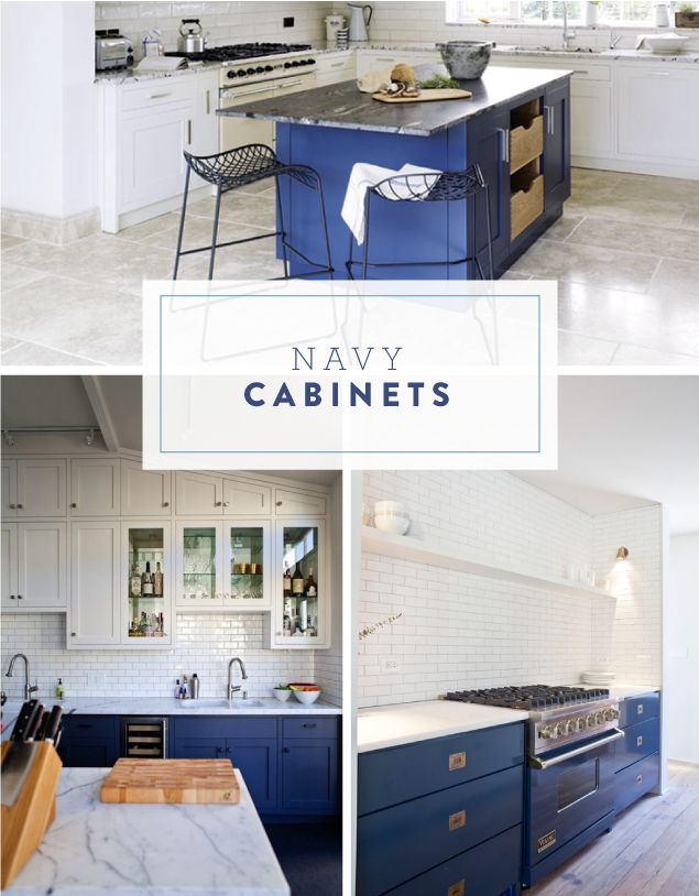 Inspired by blue cabinets tile home sweet home for Navy blue kitchen units