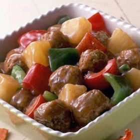 chicken meatballs with peppers and pineapple
