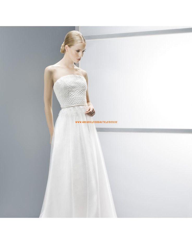 Schicke trägerlose A-linie Hochzeitskleider aus Softnetz mit Spitze ...