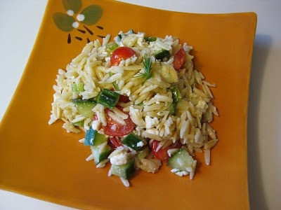 Greek Orzo salad. I made this for dinner last night with salmon. It is ...