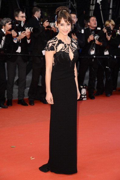 Sophie Desmarais in black gown in Cannes 2013