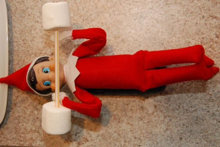 Elf on the shelf.....lifting marshmallow weights