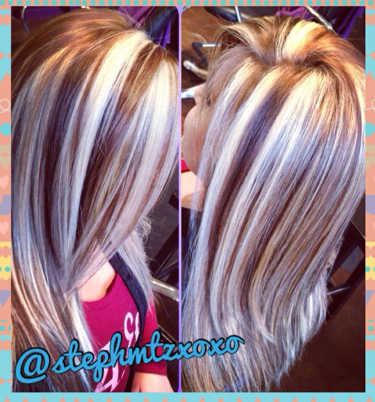 Chunky Platinum Highlights | Dark Brown Hairs