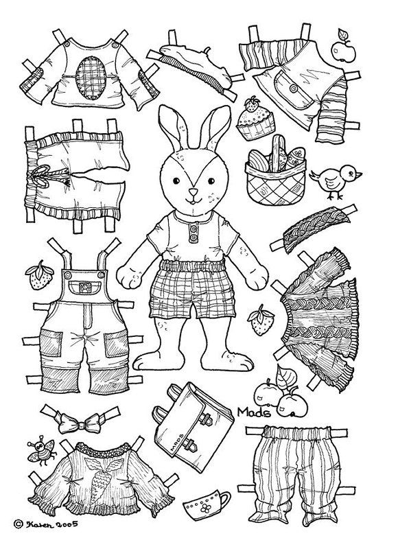 6 Boy Bunny Paper Doll Coloring Page