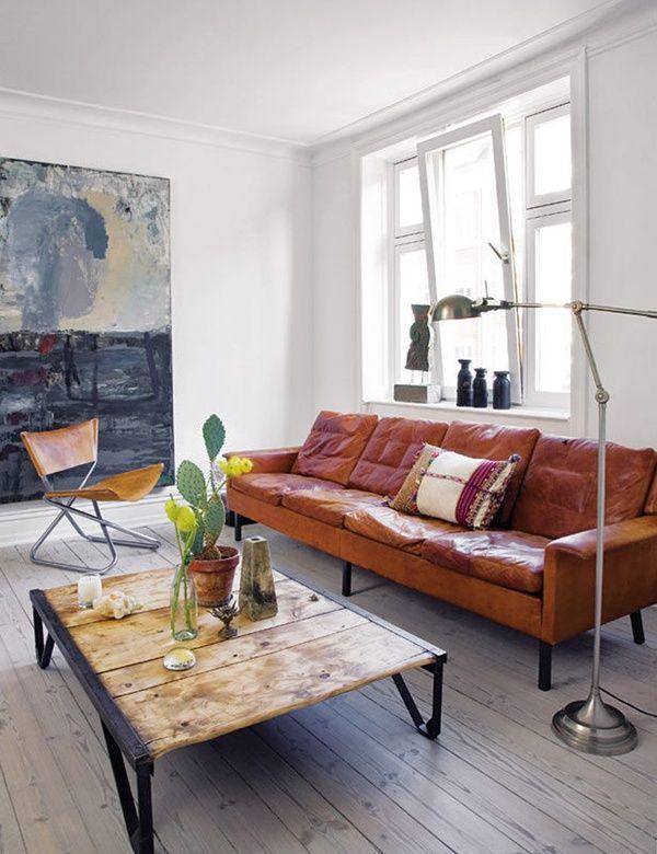 cognac leather vintage sofa