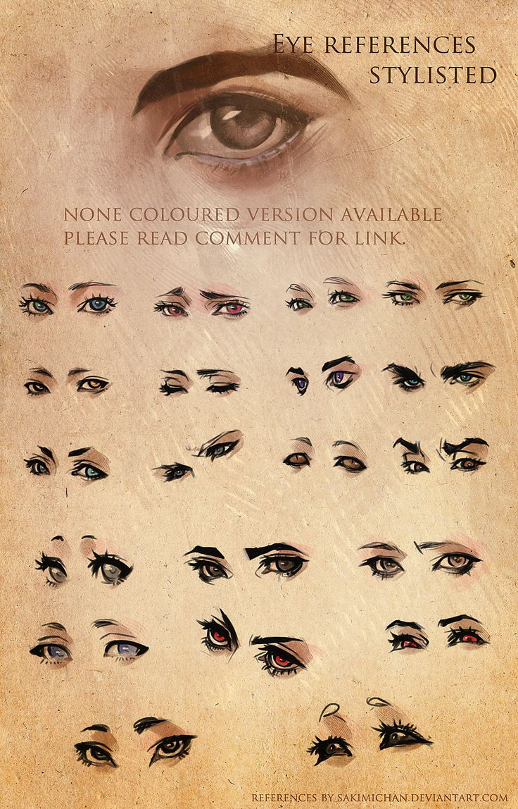 Drawing eyes, an art reference sheet. Art by sakimichan on DeviantArt.