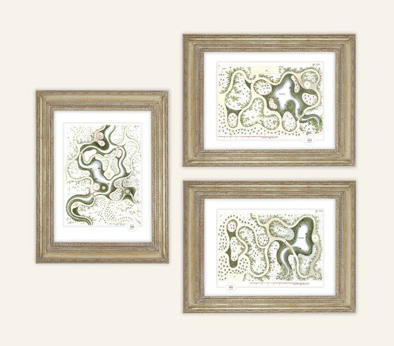 3 Antique Garden Drawings with Ponds & Forests Archival 8 x10 Print Set