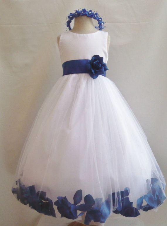 Rose petal dress white flower girl wedding summer christmas easter re