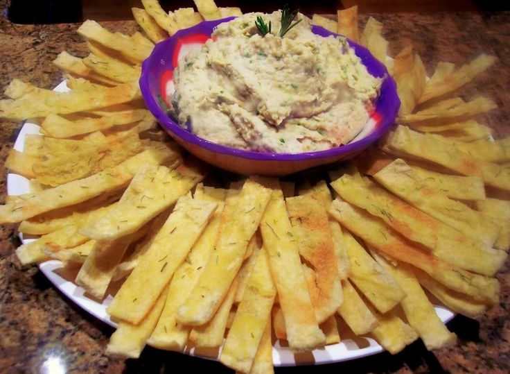 Rosemary & Olive Oil Pita Chips with Tuscan White Bean Dip- or other ...