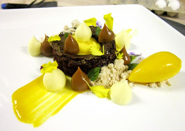 Devil Food Cake, Cremoso Maracuya, Dulce de Leche Powder, Mango Sorbet, Dulce de Leche, Passion Fruit Foam by Pastry Chef Antonio Bachour, via Flickr