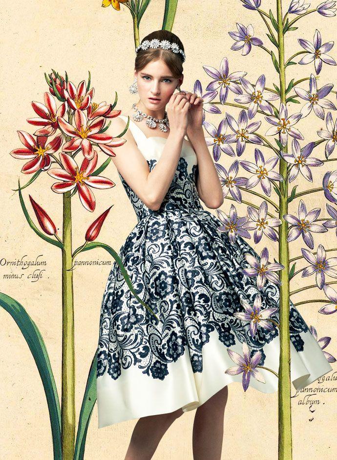 Посмотрите Дня Dolce & Gabbana весна-лето 2014 Женская Кружева Печатные герцогини Сатин юбкой платье -