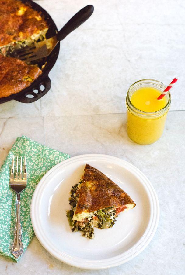 Crustless Kale & Feta Quiche With Greek Yogurt