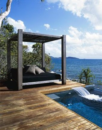 Outdoor canopy day bed by pool outdoor pinterest for Outdoor pool bed