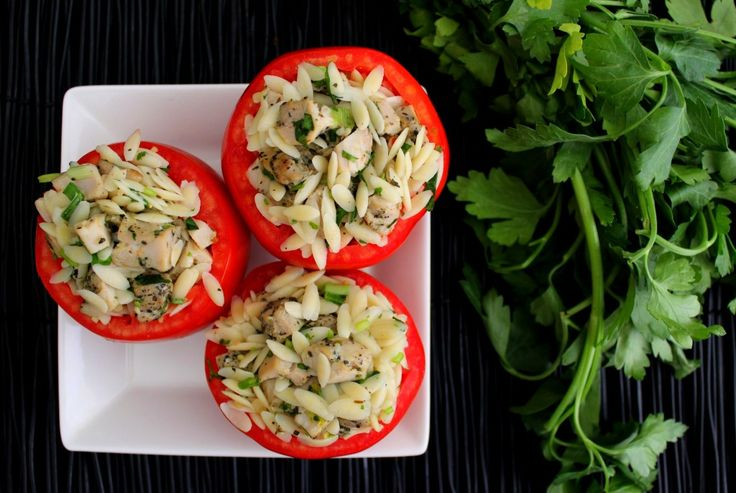 stuffed tomatoes with herbed chicken amp orzo salad makes 3 4 servings ...